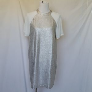 ASOS Silver Metallic Cream Sleeves Dress Size